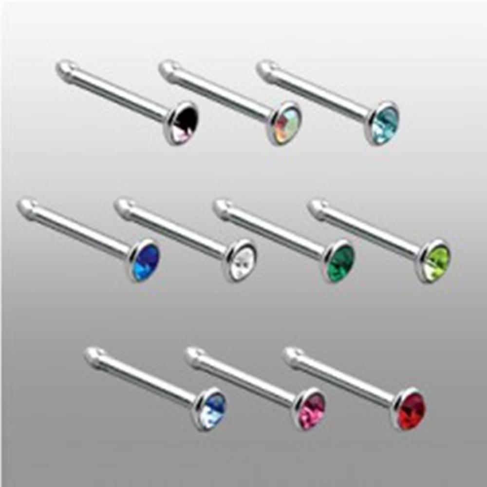 Šperky eshop Piercing do nosa s rovným koncom so zirkónom - Farba zirkónu: Aqua modrá - Q