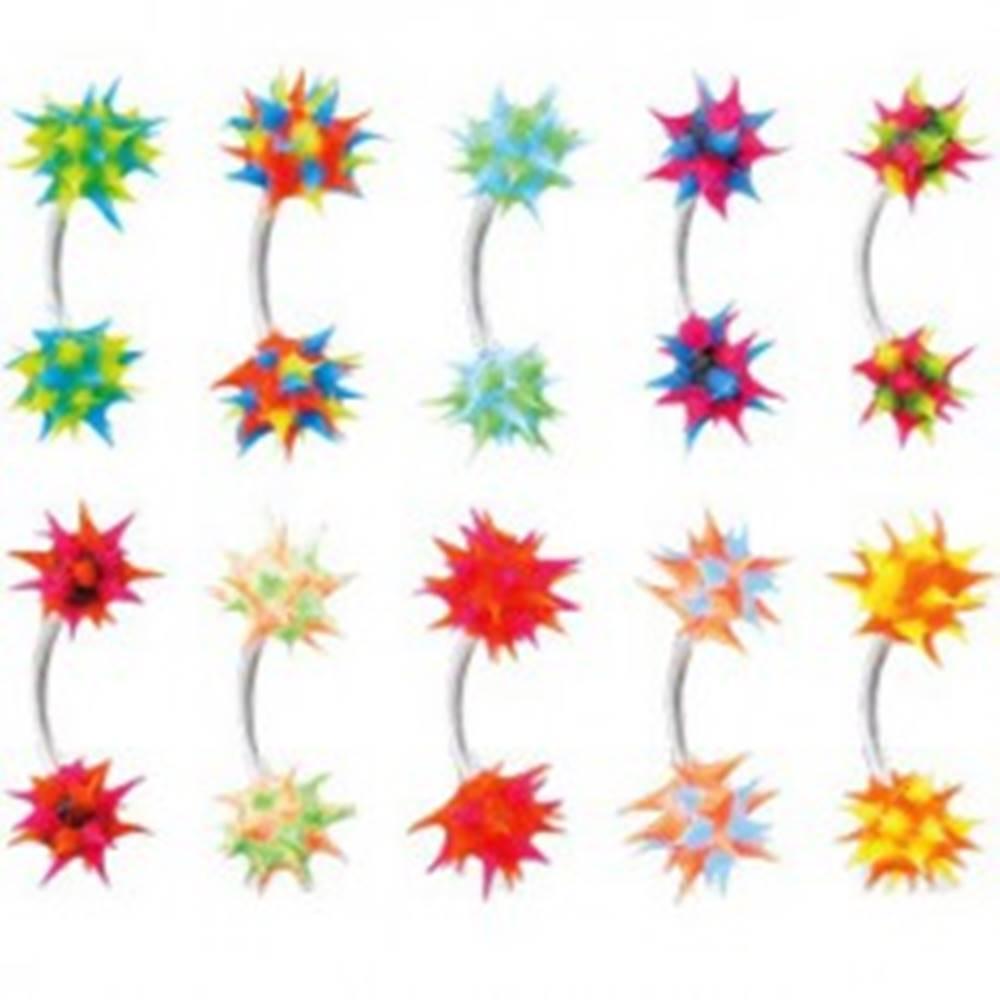 Šperky eshop Piercing do obočia so silikónovým farebným ježkom - Farba piercing: Čierna - Modrá - Ružová