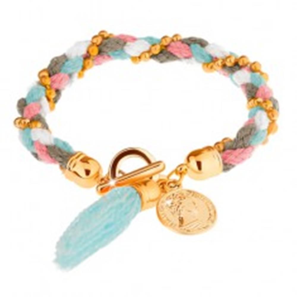Šperky eshop Pletený náramok, farebné šnúrky, guličky zlatej farby, ozdobná minca