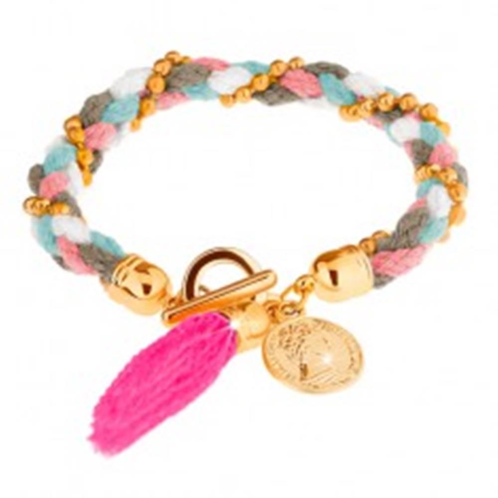 Šperky eshop Pletený náramok zo šnúrok, retiazka z guličiek - zlatá farba, minca