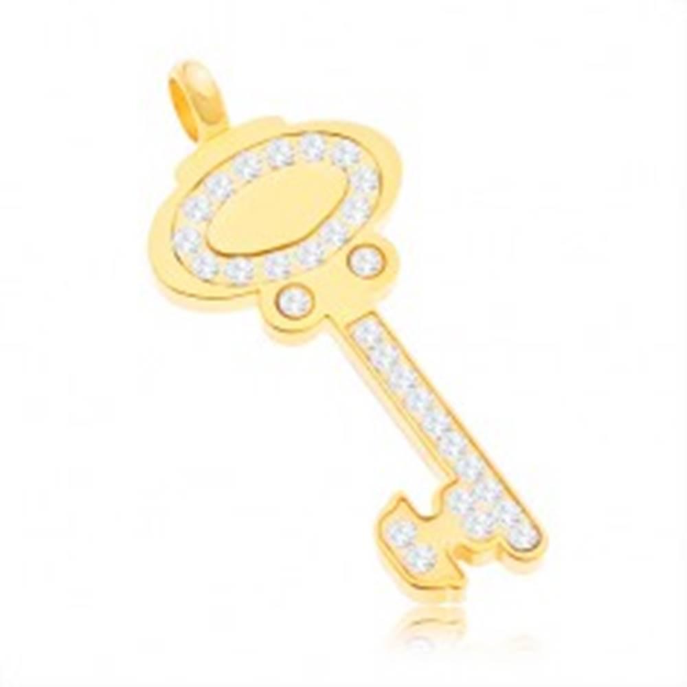 Šperky eshop Prívesok z chirurgickej ocele - kľúč zlatej farby zdobený čírymi zirkónmi