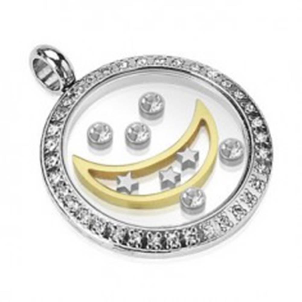 Šperky eshop Prívesok z chirurgickej ocele - kruh s mesiacom, hviezdami a zirkónmi