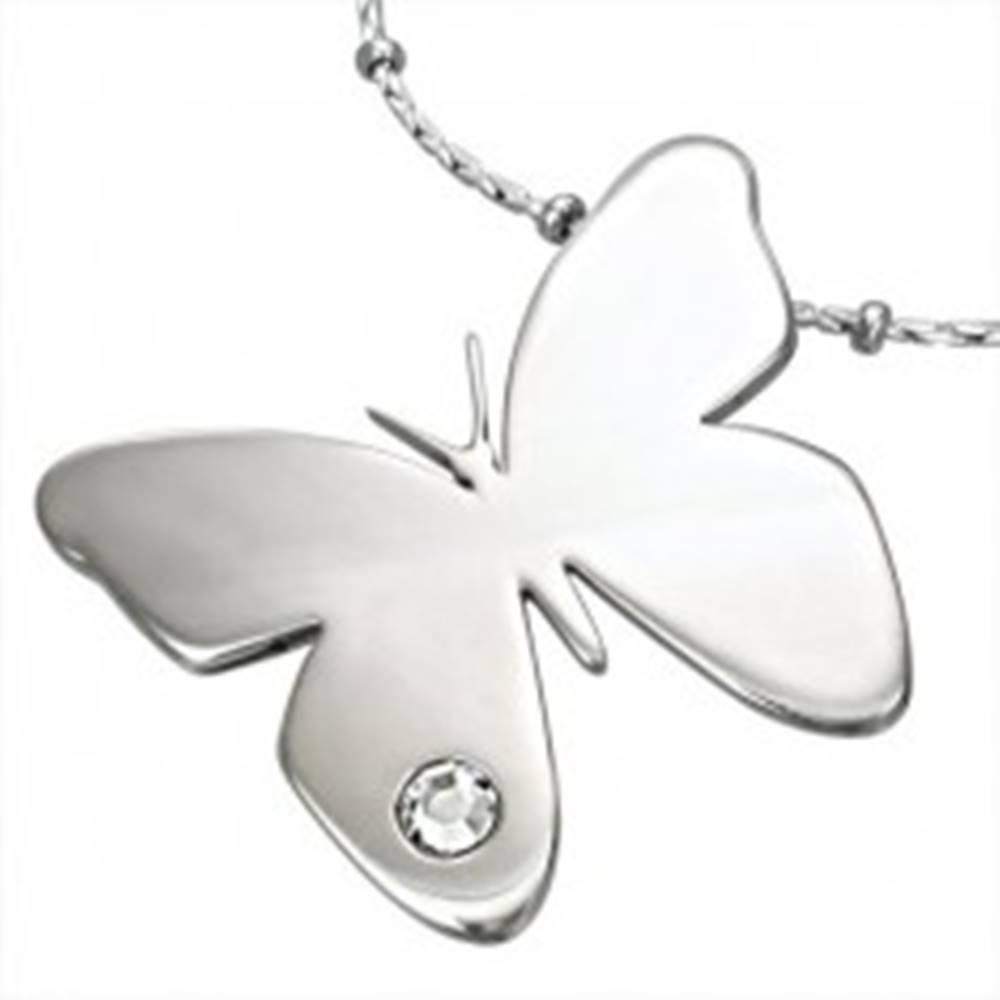 Šperky eshop Prívesok z chirurgickej ocele, lesklý motýľ s čírym zirkónikom