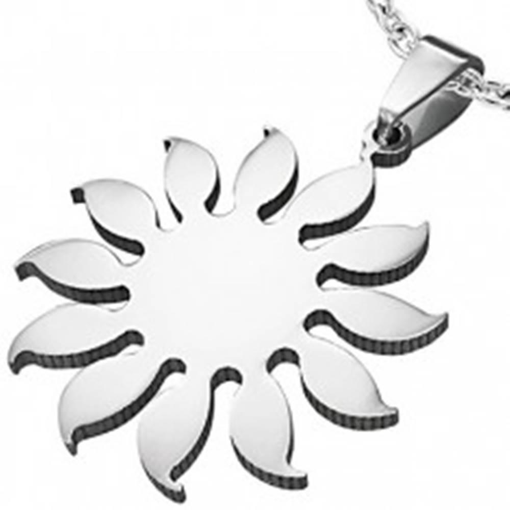 Šperky eshop Prívesok z chirurgickej ocele - motív slnečnica, strieborná farba