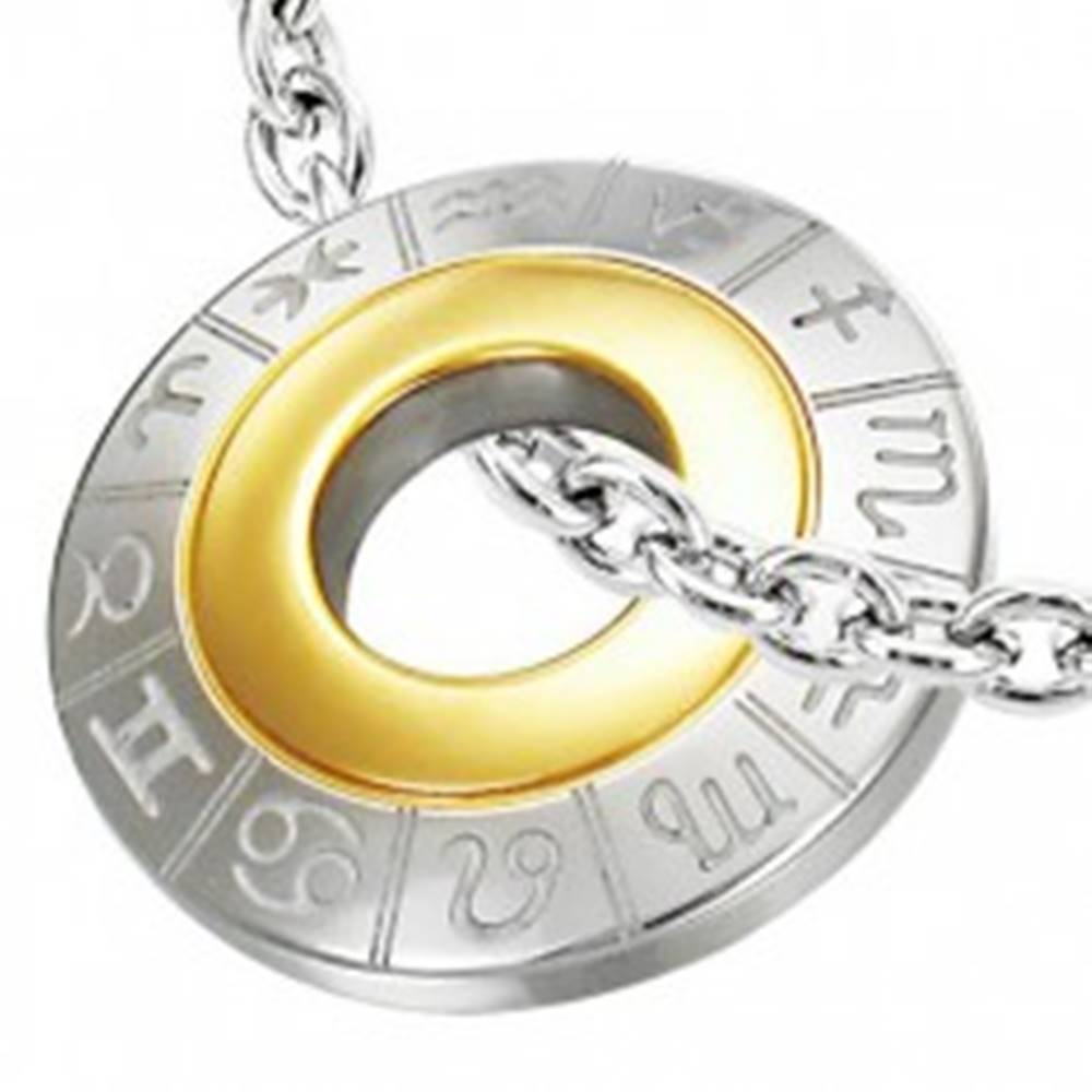 Šperky eshop Prívesok z chirurgickej ocele so zverokruhom, strieborná a zlatá farba