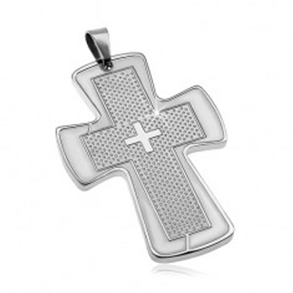 Šperky eshop Prívesok z chirurgickej ocele striebornej farby - mohutný kríž