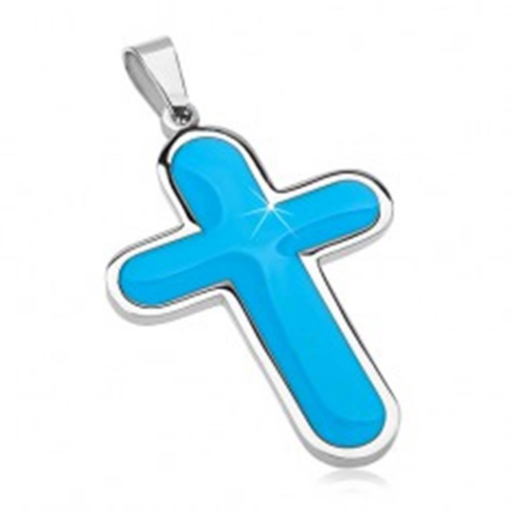 Šperky eshop Prívesok z chirurgickej ocele, veľký kríž s modrým glazúrovaným vnútrom
