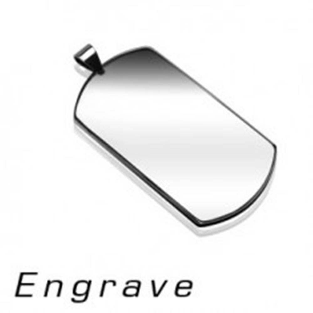 Šperky eshop Prívesok z chirurgickej ocele - známka DOG TAG, strieborná farba