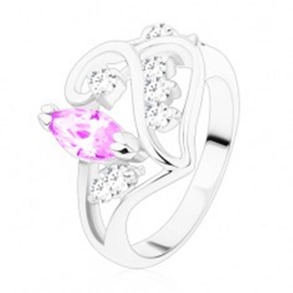 Šperky eshop Prsteň s rozdelenými ramenami, ornament so svetlofialovým zrnkom - Veľkosť: 49 mm