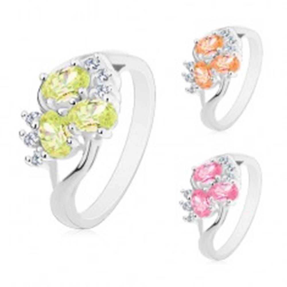 Šperky eshop Prsteň striebornej farby, rozdelené ramená, farebné ovály, číre zirkóniky - Veľkosť: 50 mm, Farba: Ružová