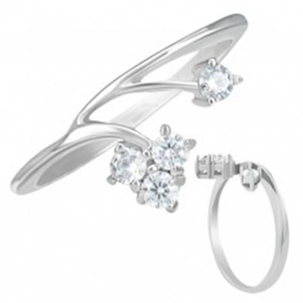 Šperky eshop Prsteň striebornej farby z ocele s dvoma zirkónovými vetvami - Veľkosť: 49 mm