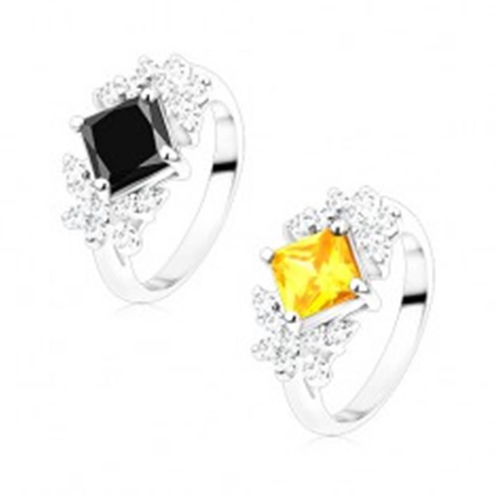 Šperky eshop Prsteň v striebornom odtieni, farebný zirkónový štvorec, číre motýle - Veľkosť: 56 mm, Farba: Čierna