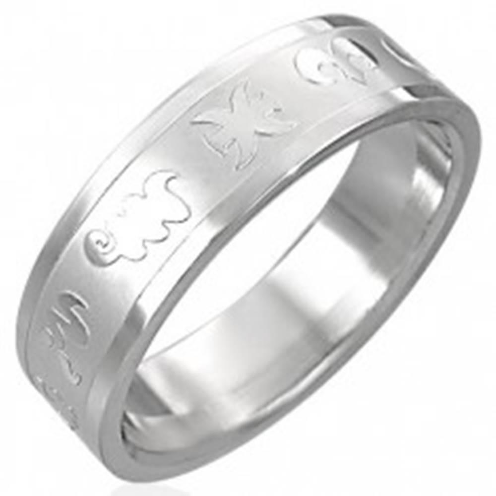 Šperky eshop Prsteň z chirurgickej ocele - zverokruh - Veľkosť: 52 mm