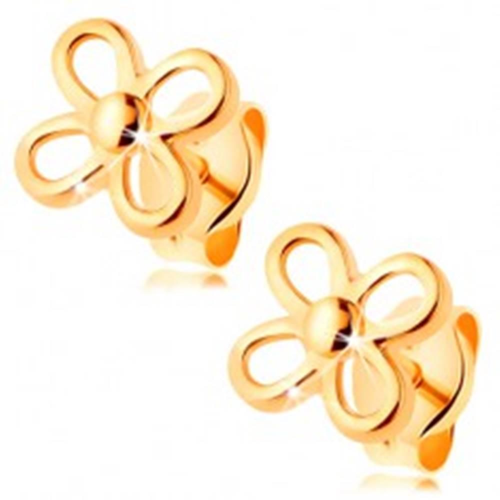 Šperky eshop Puzetové náušnice v žltom 14K zlate - kvietok so štyrmi obrysmi lupeňov