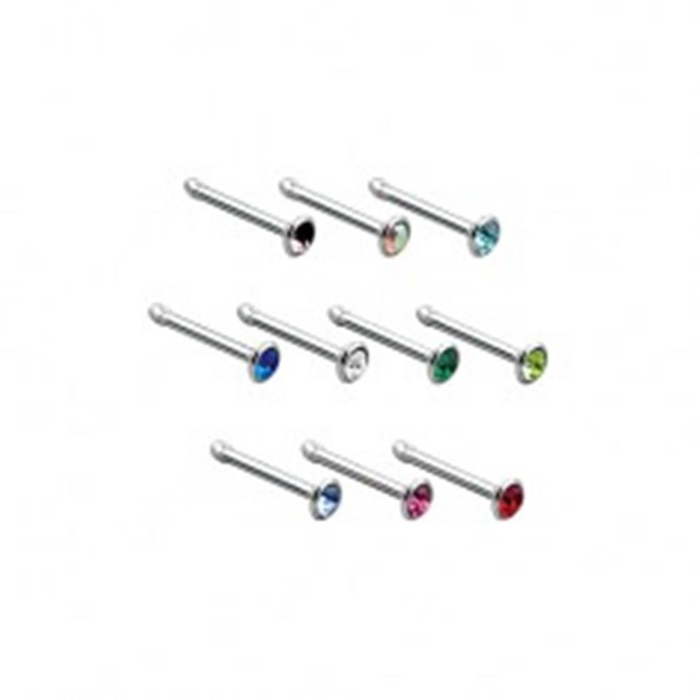 Šperky eshop Rovný piercing do nosa z ocele 316L, farebný zirkón v hlavičke - Farba zirkónu: Číra - C