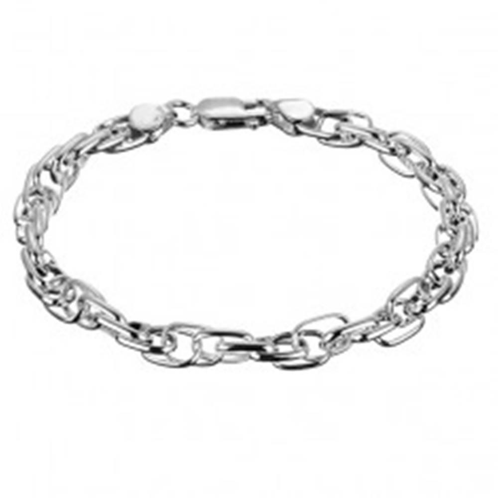 Šperky eshop Strieborný náramok 925 - spojená dvojitá retiazka s oválmi, špirála