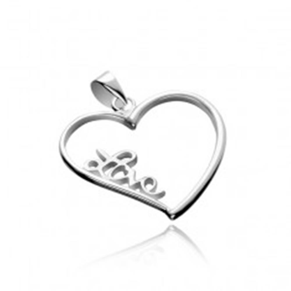 Šperky eshop Strieborný prívesok 925 - veľké obrysové srdce s nápisom Love