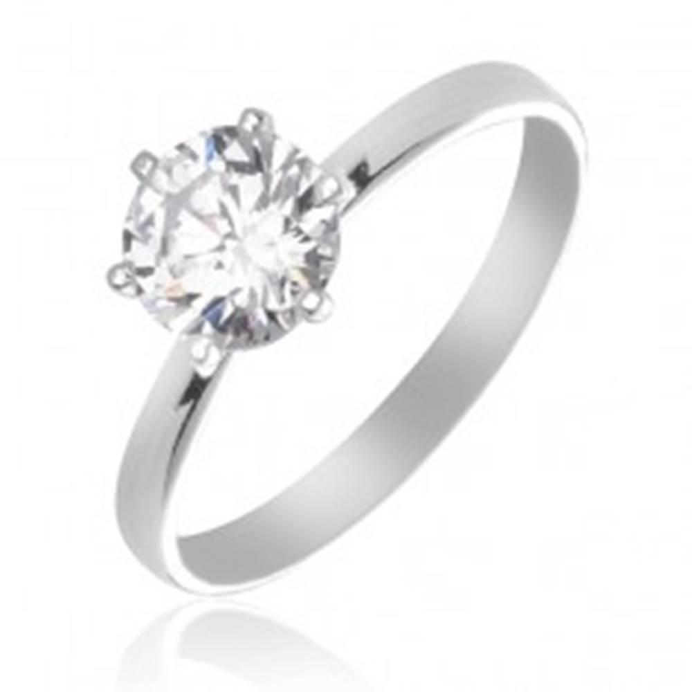 Šperky eshop Strieborný snubný prsteň 925 - číry zirkón uchytený šiestimi paličkami - Veľkosť: 49 mm