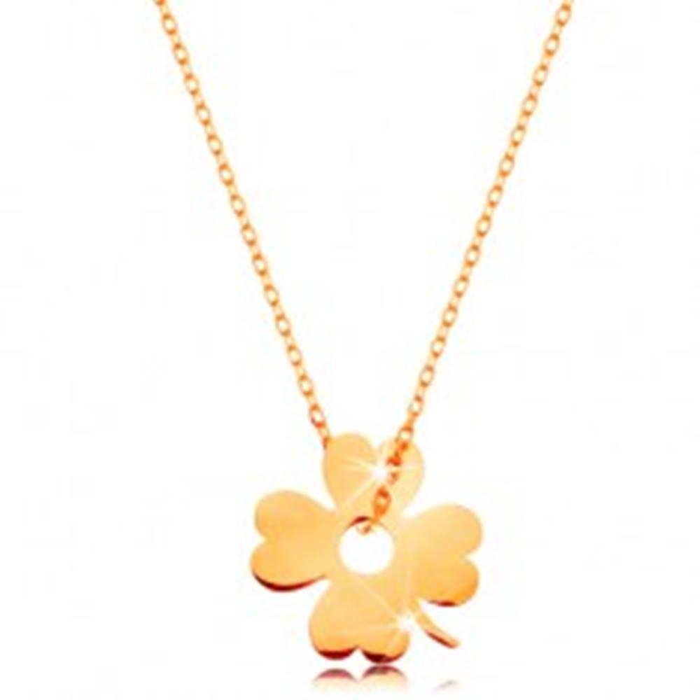 Šperky eshop Zlatý 14K náhrdelník - ligotavá tenká retiazka, prívesok - štvorlístok pre šťastie