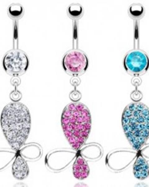 Šperky eshop Piercing do pupku v tvare mašle vykladaný zirkónmi - Farba zirkónu: Aqua modrá - Q