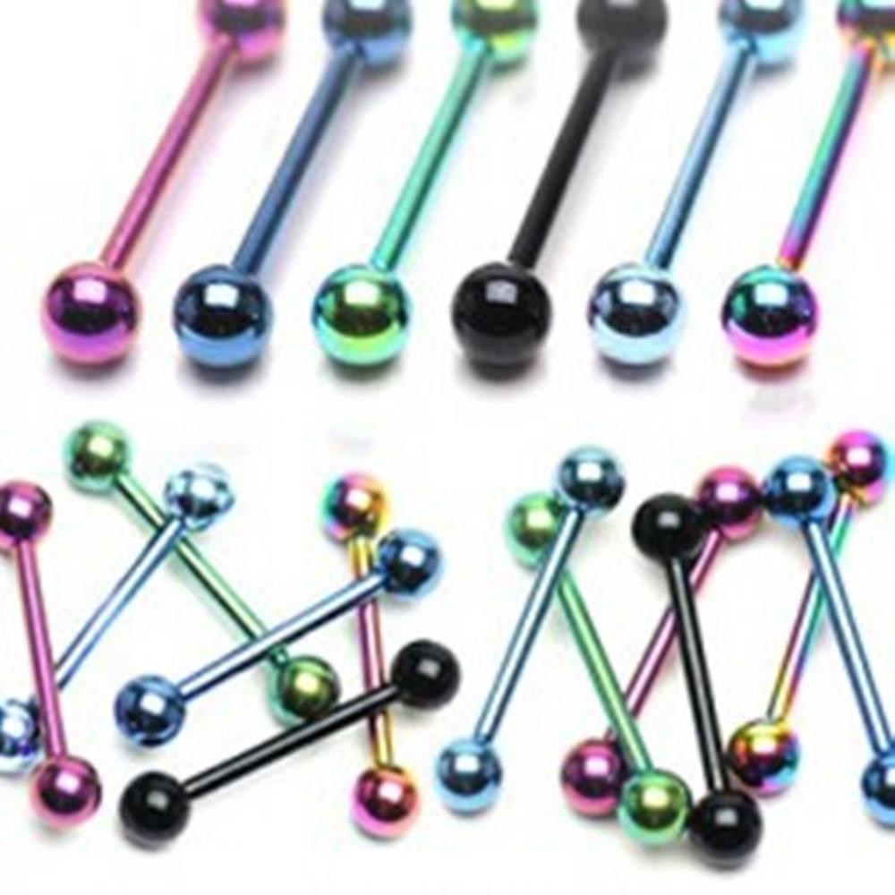 Šperky eshop Anodizovaný piercing do jazyka z titánu - Rozmer: 1,6 mm x 12 mm x 5 mm, Farba piercing: Čierna