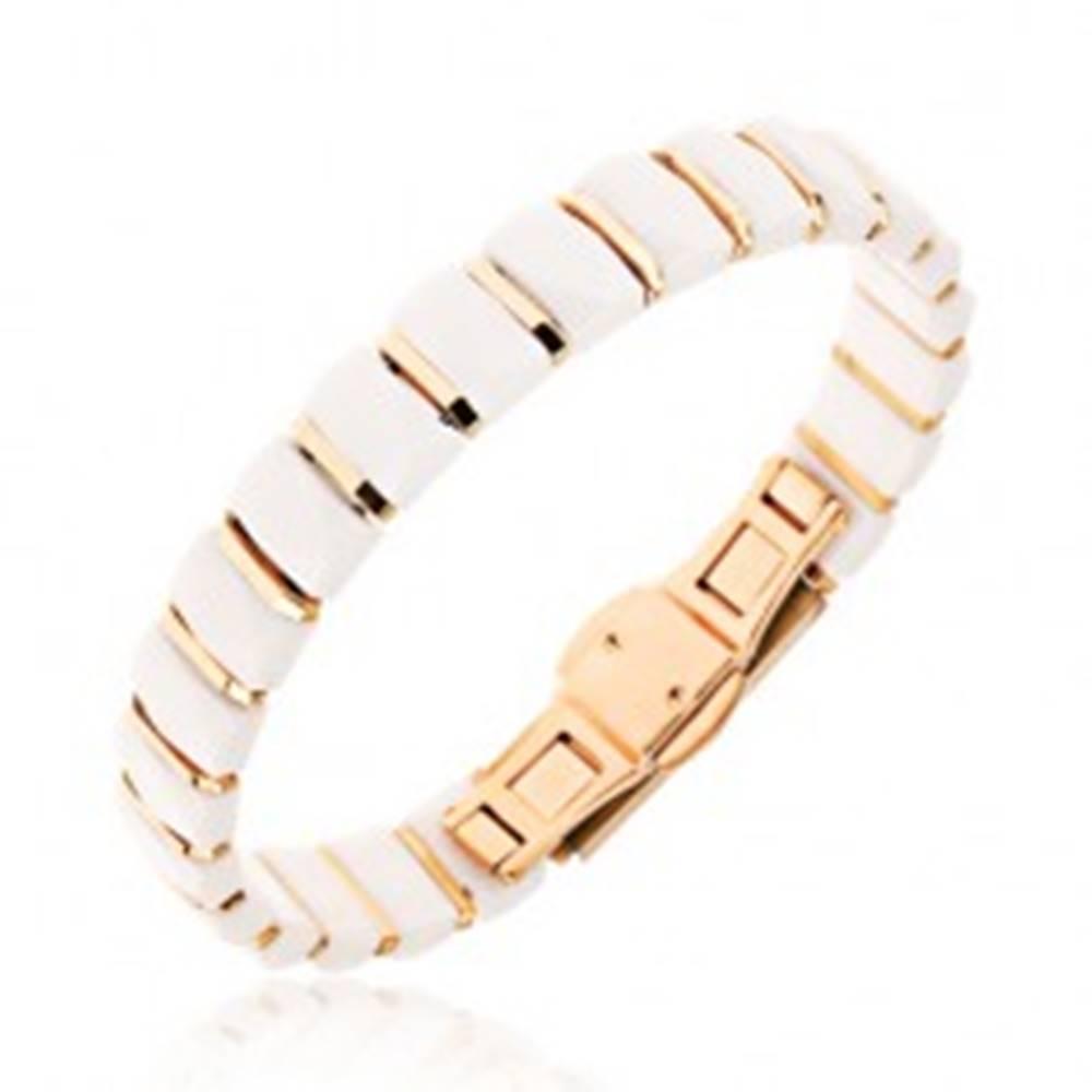 Šperky eshop Biely náramok z obdĺžnikových keramických článkov, prúžky zlatej farby