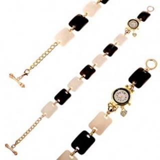 Čierno-biele náramkové hodinky, vypuklé obdĺžniky, ciferník s čírymi zirkónmi