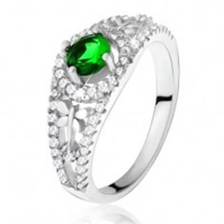 Číry zirkónový prsteň so zeleným kamienkom, vážky, striebro 925 - Veľkosť: 49 mm