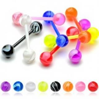 Farebný akrylový piercing do jazyka flexibilný - biele zvlnené línie - Farba piercing: Čierna