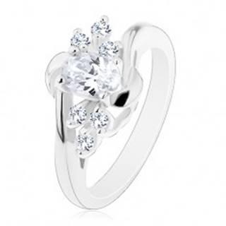 Lesklý prsteň so zahnutými ramenami, číry ovál, ligotavé číre zirkóniky, oblúčiky - Veľkosť: 49 mm