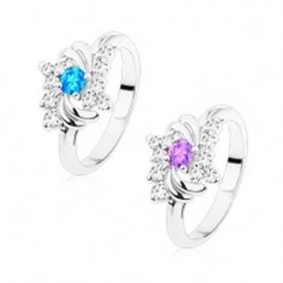 Ligotavý prsteň v striebornom odtieni, lesklé oblúčiky, okrúhle zirkóny - Veľkosť: 49 mm, Farba: Aqua modrá