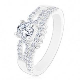 Ligotavý zásnubný prsteň, striebro 925, výrezy na ramenách, číre zirkóny - Veľkosť: 50 mm