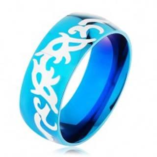 Modrá obrúčka z ocele 316L, lesklý hladký povrch s kmeňovými vzormi - Veľkosť: 57 mm