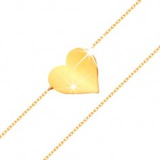 Náramok v žltom 14K zlate - zrkadlovolesklé ploché srdce, ligotavá tenká retiazka