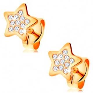 Náušnice zo žltého 14K zlata - hviezdička zdobená čírymi okrúhlymi zirkónmi