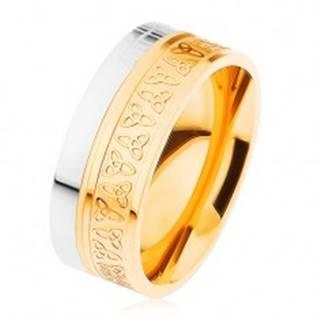 Obrúčka z chirurgickej ocele, strieborná a zlatá farba, keltské uzly - Veľkosť: 54 mm