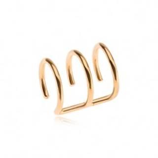 Oceľový fake piercing do ucha zlatej farby, trojitý krúžok