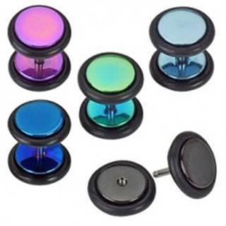 Oceľový fake plug do ucha, lesklé farebné kruhy s gumičkami, anodizované - Farba piercing: Čierna
