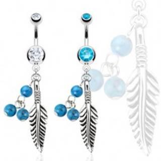 Oceľový piercing do bruška, pierko a tri tyrkysové guličky - Farba zirkónu: Aqua modrá - Q