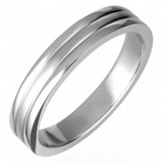Oceľový prsteň lesklý s dvoma ryhami 6 mm - Veľkosť: 56 mm