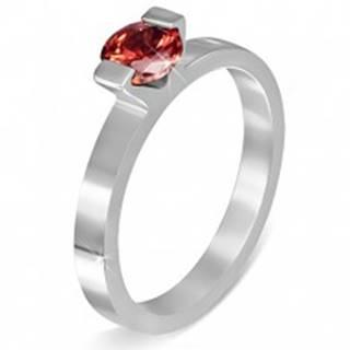"""Oceľový prsteň - mesačný kameň """"Január"""", dva úchyty - Veľkosť: 52 mm"""