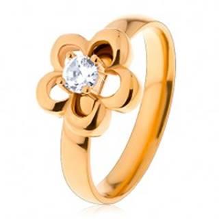 Oceľový prsteň v zlatom odtieni, kvietok, vyvýšený okrúhly zirkón čírej farby - Veľkosť: 49 mm
