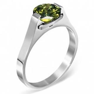 """Oceľový prsteň - zelený mesačný kameň """"Máj"""", postranné úchyty - Veľkosť: 50 mm"""