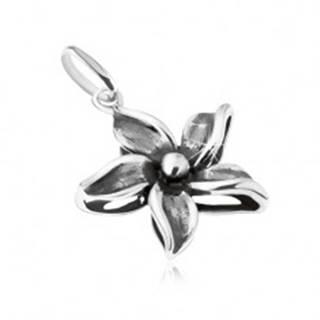 Ozdobne patinovaný prívesok kvetu, striebro 925