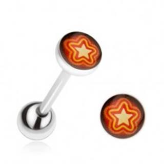 Piercing do jazyka z ocele, oranžovo-žltá hviezda