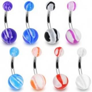 Piercing do pupku - biele guličky s farebnými líniami - Farba piercing: Čierna