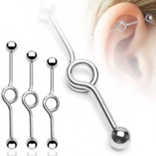 Piercing do ucha s ohnutím do kruha a guličkovým zakončením - Rozmer: 1,6 mm x 32 mm x 5 mm