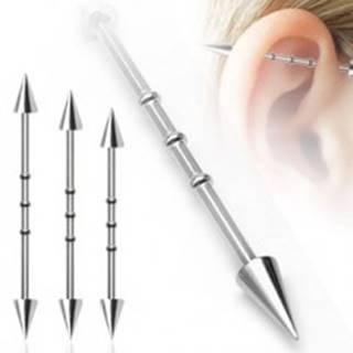 Piercing do ucha s troma malými obručami a hrotovým  zakončením - Dĺžka piercingu: 32 mm