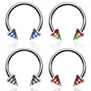 Piercing podkova s troma pásmi na hrote - Rozmer: 1,2 mm x 10 mm x 3x4 mm, Farba piercing: Červená - Žltá - Zelená - JM