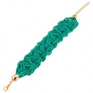 Pletený korálkový náramok, tyrkysová farba, karabínkové zapínanie